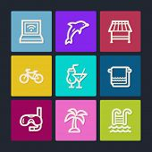 Vacation web icons, color buttons
