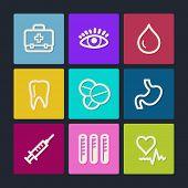 Medicine web icons set 1, color buttons
