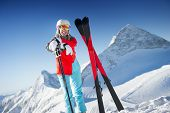 Woman in Ski resort / clear weather