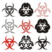 image of biohazard symbol  - Various vector biohazard symbols collection black and red - JPG