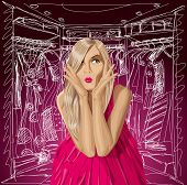 Fashion concept. Surprised blonde in pink dress do not know what to wear