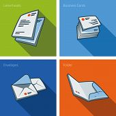 Stationary Icon Set Of Letterheads, Business Cards, Envelope And Folder
