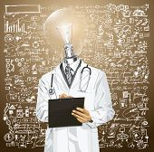 Idea medical concept. Lamp head doctor man writing something with marker on clipboard