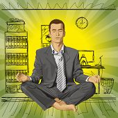 Relax concept. businessman in lotus pose meditating