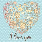I love you - concept card in modern stylish colors. Heart shape made of romantic signs: hearts, flowers, girl, whale, clouds, stars and rabbits on sea background