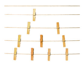 foto of pegging  - collection of peg on rope white background - JPG