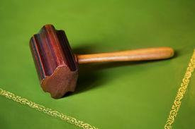 pic of freemasons  - antique Freemason hammer on green table  - JPG