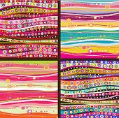 Set of four colourful line background.