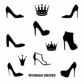 Set of woman shoes silhouettes with crowns