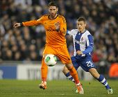 BARCELONA - JAN, 21: Sergio Ramos of Real Madrid during the Spanish Kings Cup match between Espanyol