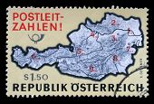 AUSTRIA - CIRCA 1976: a stamp printed in the Austria shows Map of Austria with Postal Zone Numbers,