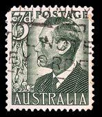 AUSTRALIA - CIRCA 1951: A stamp printed in Australia shows King George VI, circa 1951