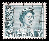 AUSTRALIA - CIRCA 1959: A stamp printed in Australia shows a portrait of Queen Elizabeth II, circa 1
