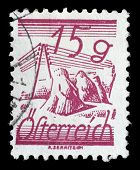 AUSTRIA - CIRCA 1925: A stamp printed in Austria, is depicted Fields Crossed by Telegraph Wires, circa 1925