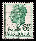 AUSTRALIA - CIRCA 1951: A stamp printed in AUSTRALIA showing a portrait of King George VI, circa 195
