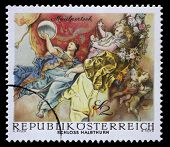 AUSTRIA - CIRCA 1968: a stamp printed in the Austria shows Symbolic Figures from The Triumph of Apollo, by Maulpertsch, Halbthurn Castle, circa 1968
