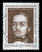 AUSTRIA - CIRCA 1974: stamp printed by Austria, shows Ferdinand Ritter von Hebra, circa 1974