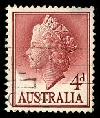 AUSTRALIA - CIRCA 1955: A stamp printed in Australia shows Queen Elizabeth II, circa 1955.