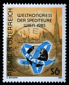 AUSTRIA - CIRCA 1985: a stamp printed in the Austria shows View of Vienna, International Association