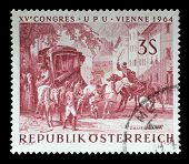 AUSTRIA - CIRCA 1964: a stamp printed in the Austria shows Changing Horses at Bavarian Border, Paint