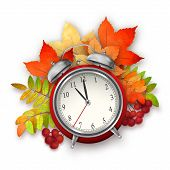 Autumn Vector Fall Leaves and Alarm Clock