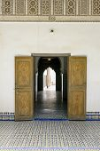MARRAKESH, MOROCCO- AUGUST 24, 2014:  Door detail of El Bahia Palace on 24 August 2014 in Marrakesh, Morocco. The Palace is an example of Eastern Architecture from the 19th century.