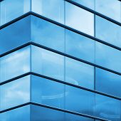 Modern Office Facade Fragment, Blue Glass And Steel Frames