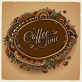 Coffee time decorative border label design.