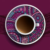 Cup of coffee and hand drawn ornament