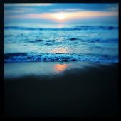 Instagram filtered image of the sunrise and surf on the Outer Banks shorline