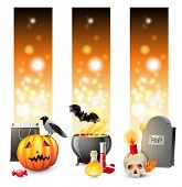 3 bright Halloween banners with place for text