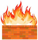 Brick wall on fire