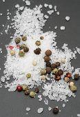 salt with peppercorns