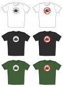 t-shirts with cannabis leaf emblem