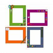 Four Art Children's Frame. Isolated