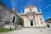Jesuit Church of St. Ignatius in Dubrovnik, Croatia. The church belfry houses the oldest bell in Dub