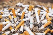 image of discard  - Cigarette butts discarded in ashtray on sand
