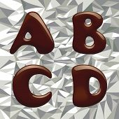 Vector image of chocolate alphabet capital letter on the aluminum foil