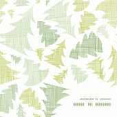 Green Christmas trees silhouettes textile frame corner pattern background