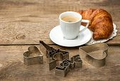 Coffee With Croissant And Romatic Decoration