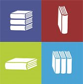 Vector books flat icon on color background