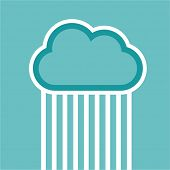 Man in cloud logo isolated on white