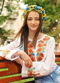 Ukrainian Girl Portrait On Wooden Bench