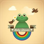 Baby shower illustration with comic frog. Vector illustration.