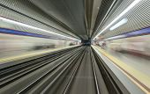 stock photo of high-speed train  - Underground train tunnel blurred motion  - JPG