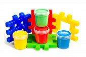 Constructor and jars of paint