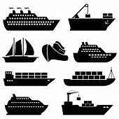 stock photo of ship  - Ships boats cargo logistics transportation and shipping icons - JPG