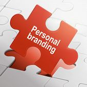 Personal Branding On Red Puzzle Pieces