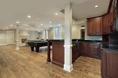 picture of basement  - Basement in new construction home with bar and fireplace - JPG