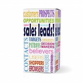 Sales Leads Words On Product Box